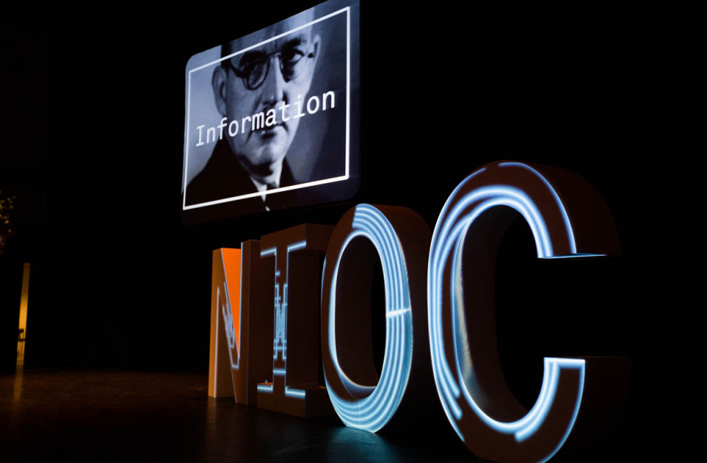 Projection mapping on four big letters