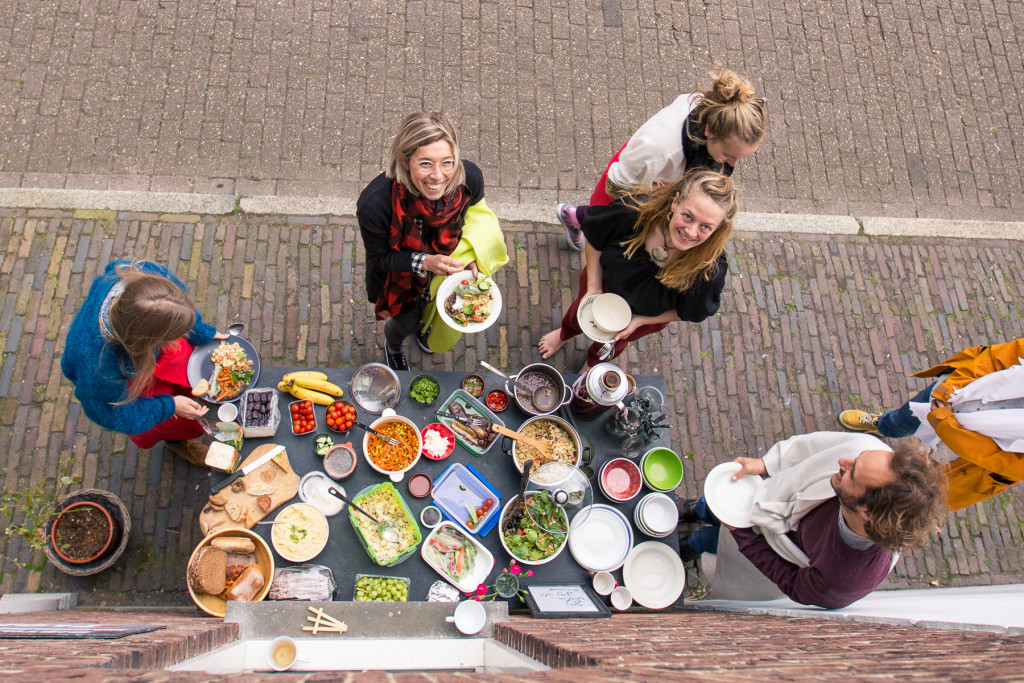 Potluck lunch outside